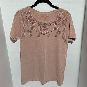 Lucky Brand Floral Rose Graphic Tee Small
